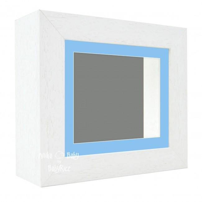 "Deluxe White Deep Box Frame 6x5"" with Blue Mount and Grey Backing"