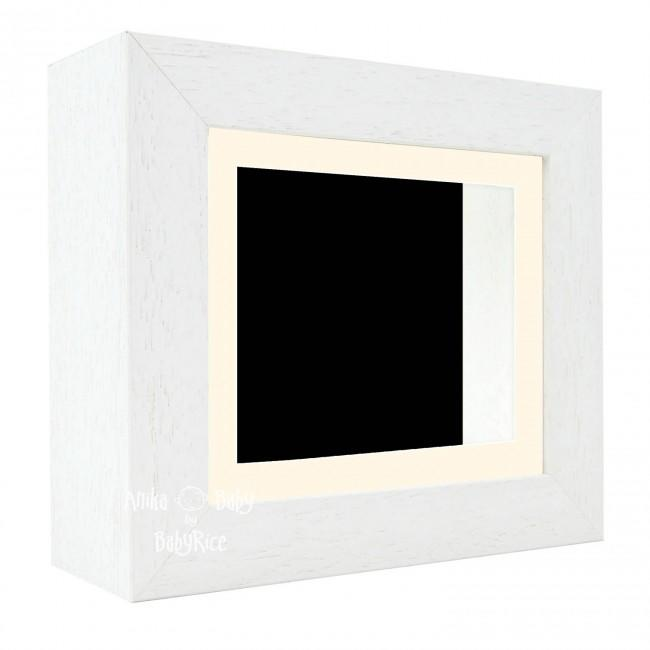 "Deluxe White Deep Box Frame 6x5"" with Cream Mount and Black Backing"