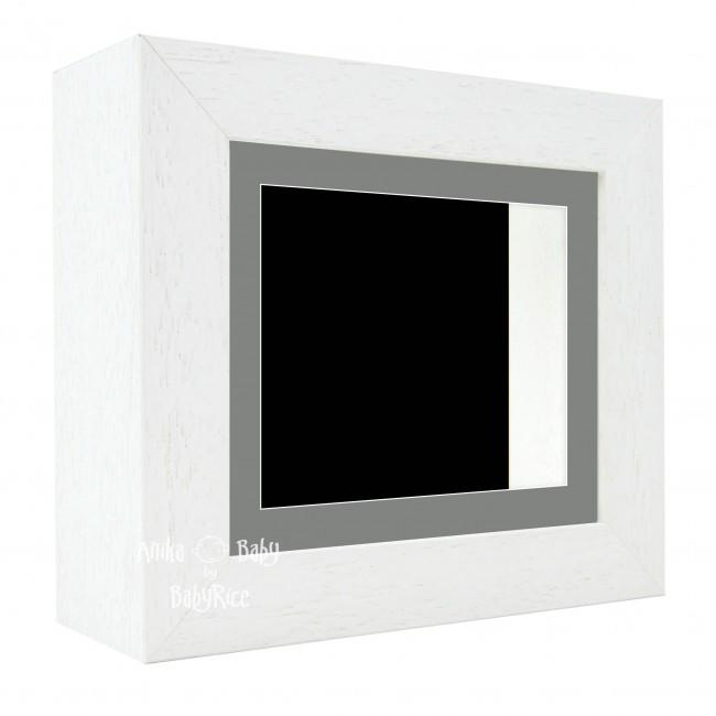 "Deluxe White Deep Box Frame 6x5"" with Grey Mount and Black Backing"