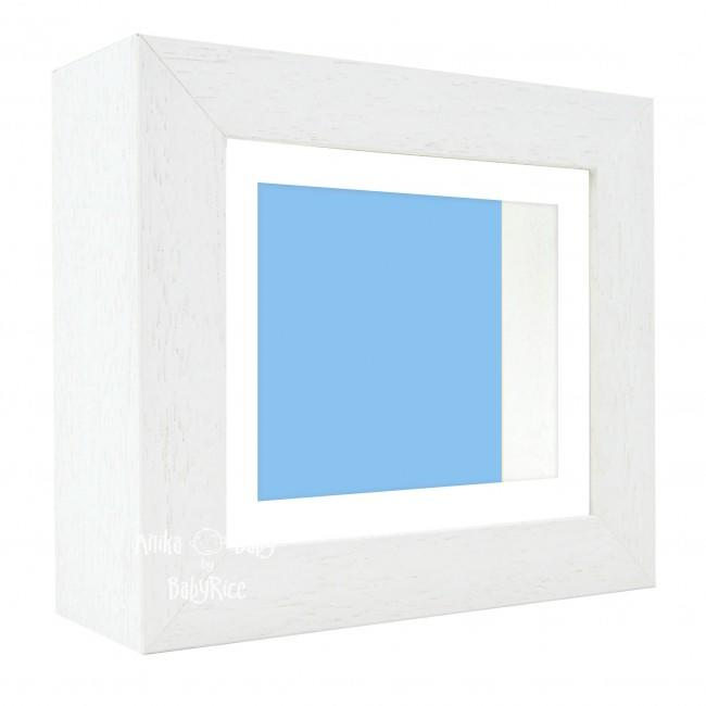 "Deluxe White Deep Box Frame 6x5"" with White Mount and Blue Backing"