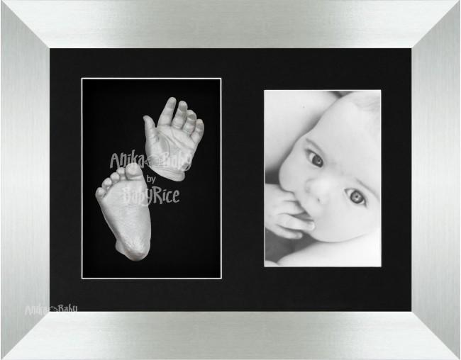 New Baby Casting Kit, Silver Photo Frame, Christening Gift