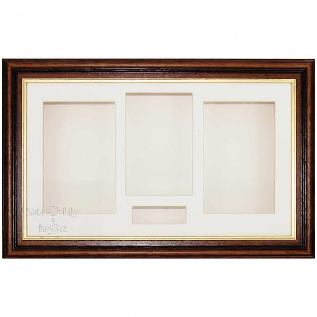 "15x9"" Mahogany/Gold Trim 3D Shadow Box Display Frame / Cream"