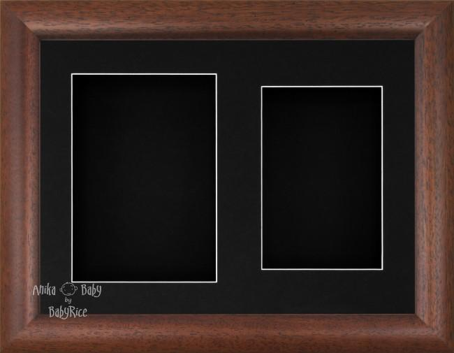 "11.5x8.5"" Dark Wood Effect 3D Display Frame 2 Hole Black Mount Black Back"