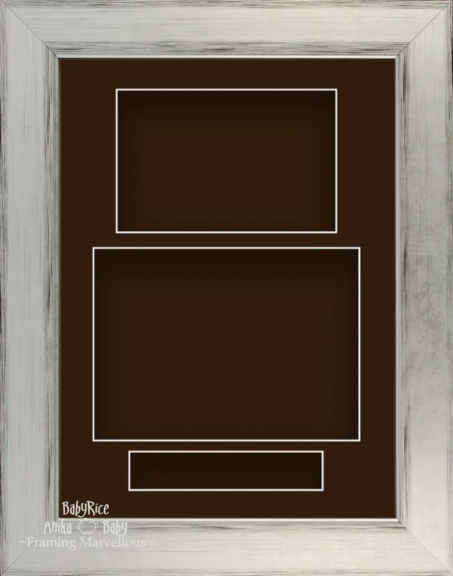 "11.5x8.5"" Silver Black 3D Deep Shadow Box Display Frame Brown Portrait"