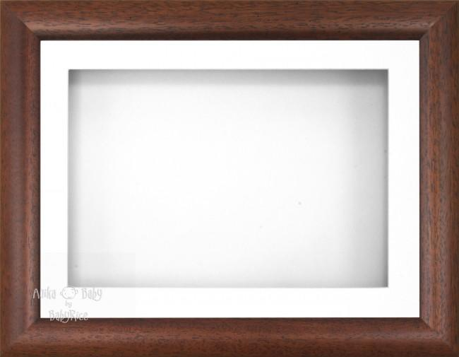 "12x9"" Dark Wood Effect 3D Display Frame 1 Hole White Mount White Back"