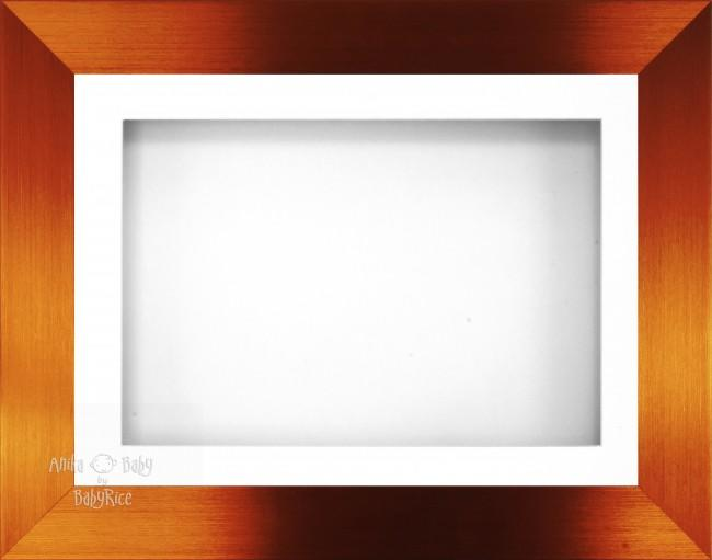"11.5x8.5"" Brushed Bronze 3D Display Frame 1 Hole White Mount White Back"