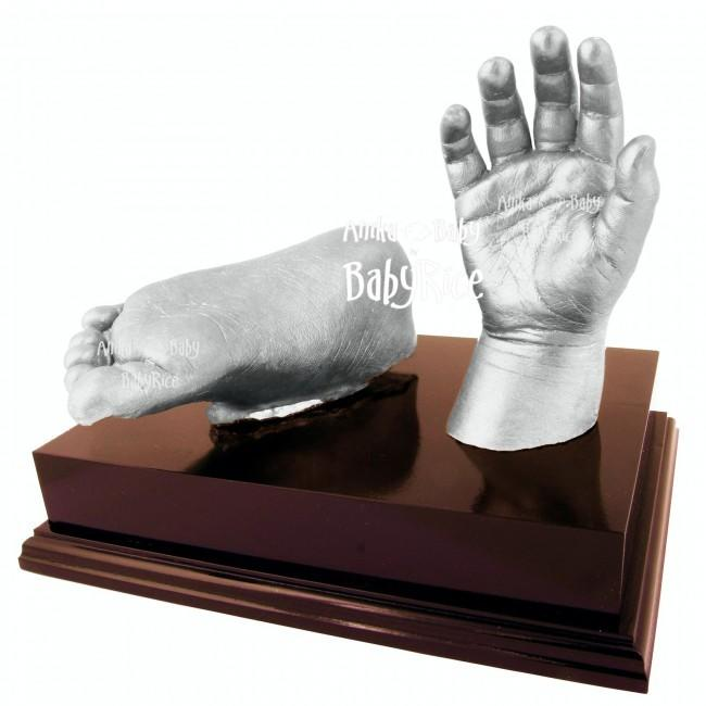 "Baby Casting Kit with Silver paint and 6x4"" Mahogany effect Plinth"