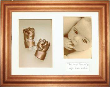 "Baby Casting Kit & 11.5x8.5"" Honey Pine Frame / Gold paint"