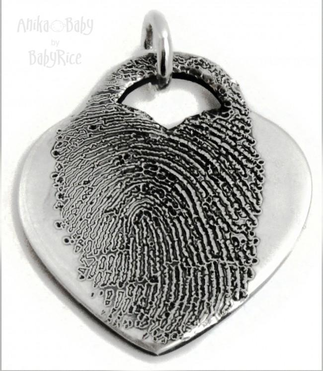Personalised Adult Child Fingerprint Jewellery Silver Heart Charm Oxi