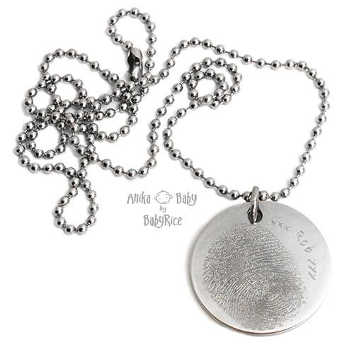Large Stainless Steel Circle Fingerprint Ballchain