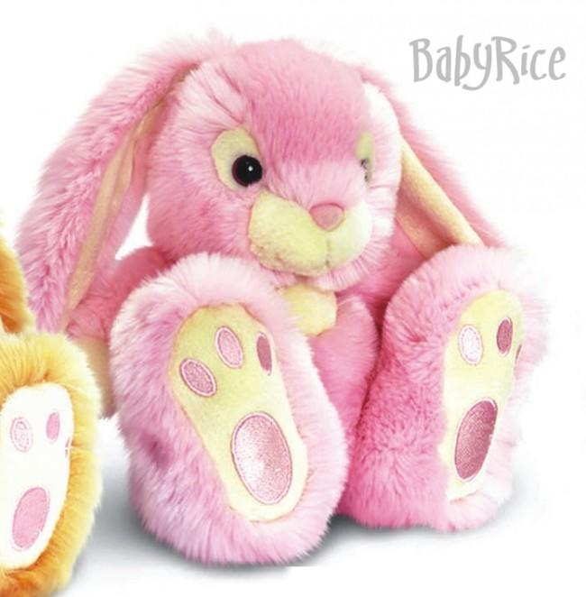 Pink Patchfoot Long Eared Cuddly Rabbit 18CM