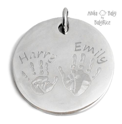 Large Stainless Steel Circle Hand Footprints