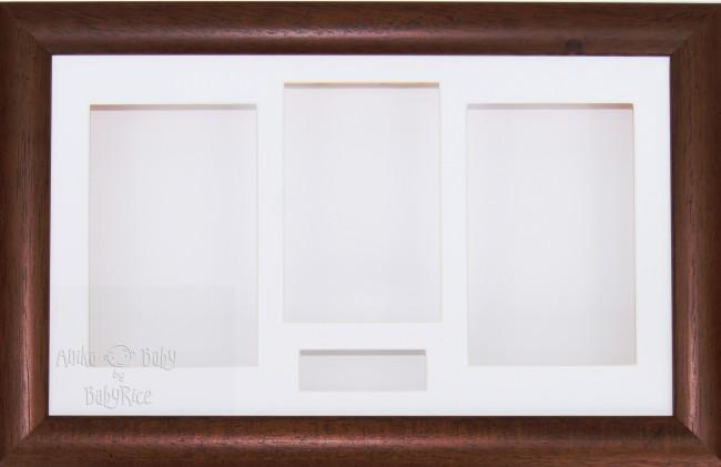 Large Dark Wood Wooden 3D Shadow Box Display Frame / White
