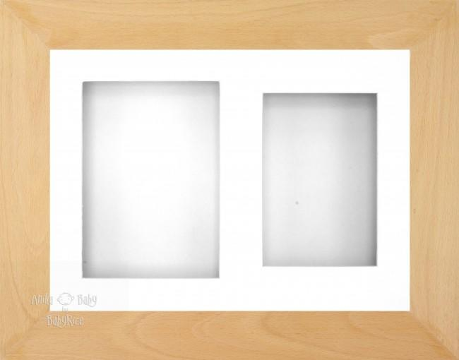 "11.5x8.5"" Real Beech Wood 3D Display Frame 2 Hole White Mount White Back"