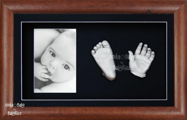 New Baby Baptism Gift, 3D Handprint Footprint Kit, Wooden Frame