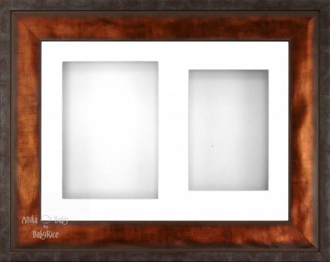 "12x9"" Urban Bronze 3D Display Frame 2 Hole White Mount White Back"