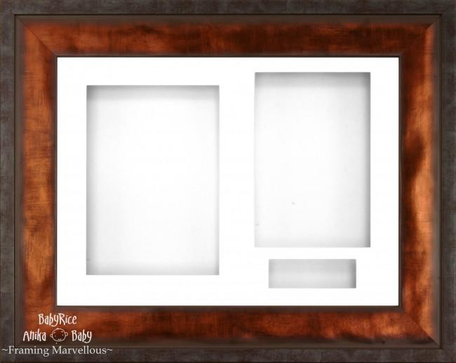 "12x9"" Urban Bronze 3D Display Frame 3 Hole White Mount White Back"