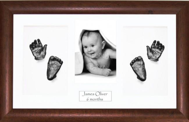 New Baby Baptism Gift, 3D Handprint Footprint Kit, Dark Wood, Pewter