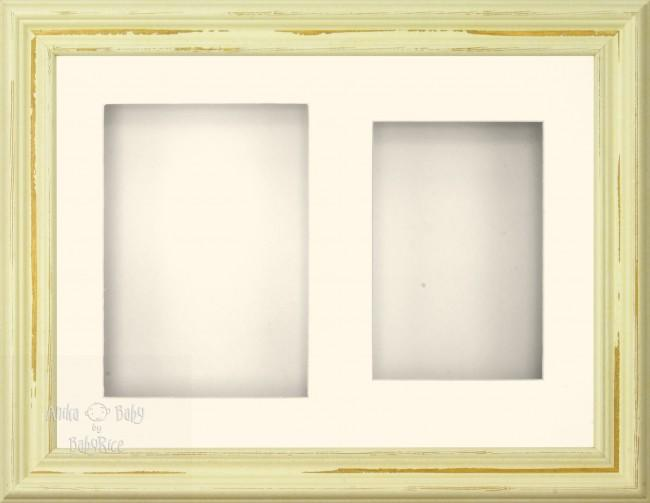"11.5x8.5"" Shabby Chic 3D Display Frame 2 Hole Cream Mount Cream Back"