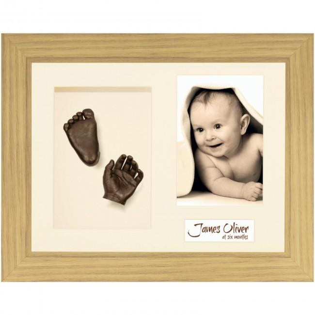Baby Casting Kit, Oak effect Frame, Cream Mount, Bronze