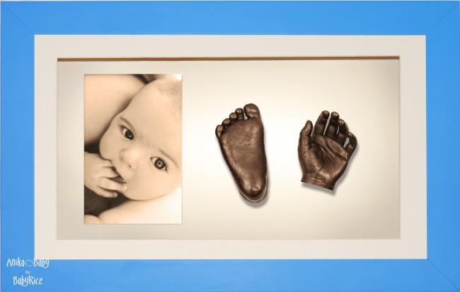 Large, Twins Baby Hand Foot Casting Kit / Strong Blue Frame / Bronze