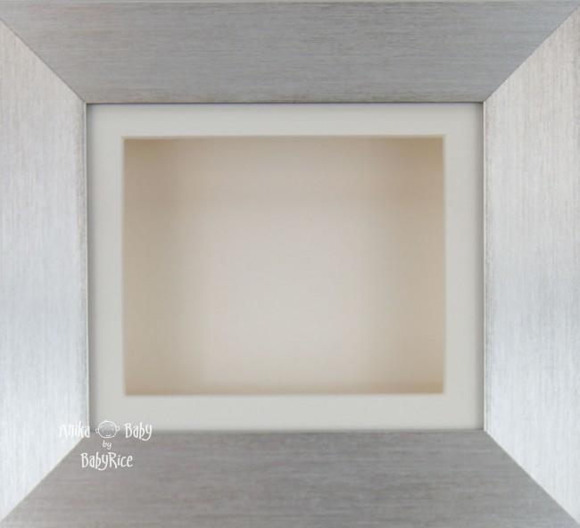 "6x5"" Deep Box Display Frame Silver with Cream Mount and Backing"