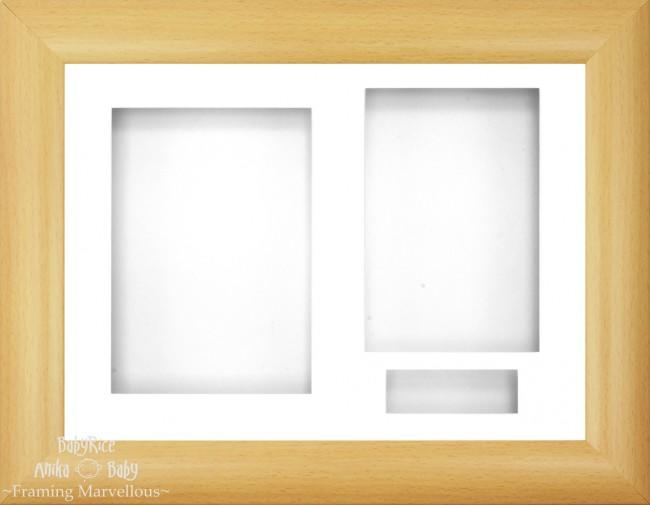 "12x9"" Beech Effect 3D Display Frame 3 Hole White"