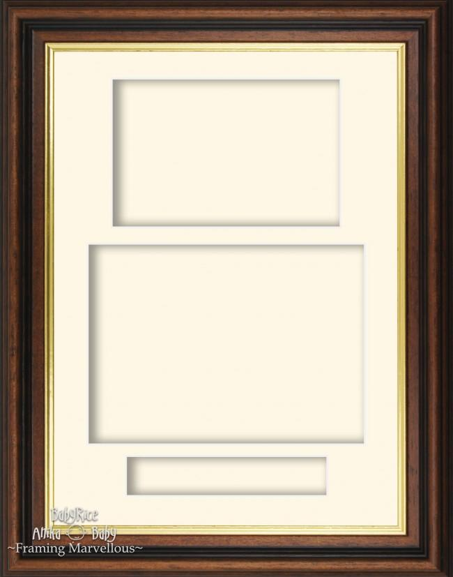 Mahogany effect/Gold trim 3D Display Box Frame Cream Portrait