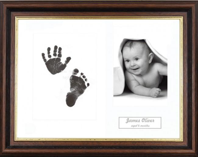 New Baby Inkless Prints, Hand & Footprint Kit, Mahogany/Gold Frame