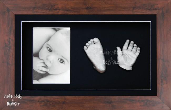 New Baby Casting Kit Gift, Mahogany effect frame, Hands Feet Silver