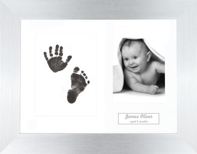 New Baby Inkless Prints, Hand & Footprint Kit, Brushed Silver Frame