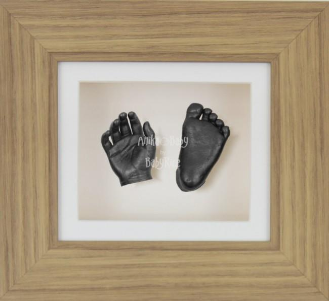 Baby Casting Kit Oak Effect Frame Cream Display Pewter paint