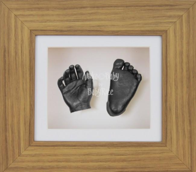 Baby Casting Kit Oak Effect Frame White Display Pewter paint