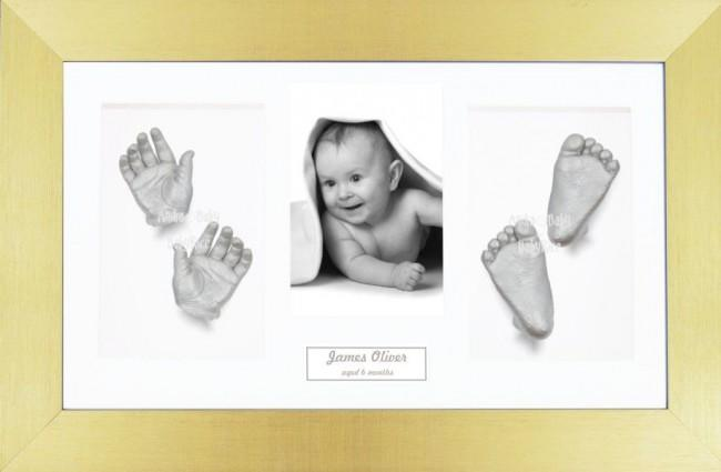 Baby Casting Kit / Gold Frame / White Photo Display / Silver Paint
