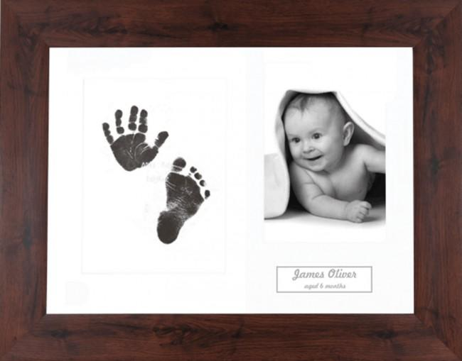 New Baby Inkless Prints, Hand & Footprint Kit, Mahogany Effect Frame