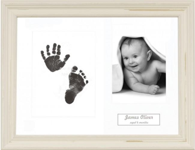 New Baby Inkless Prints, Hand & Footprint Kit, Shabby Cream Frame