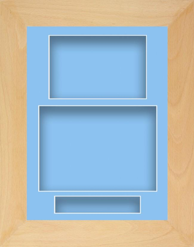 11.5x8.5 Beech Wooden Deep Box Display Frame Blue Portrait