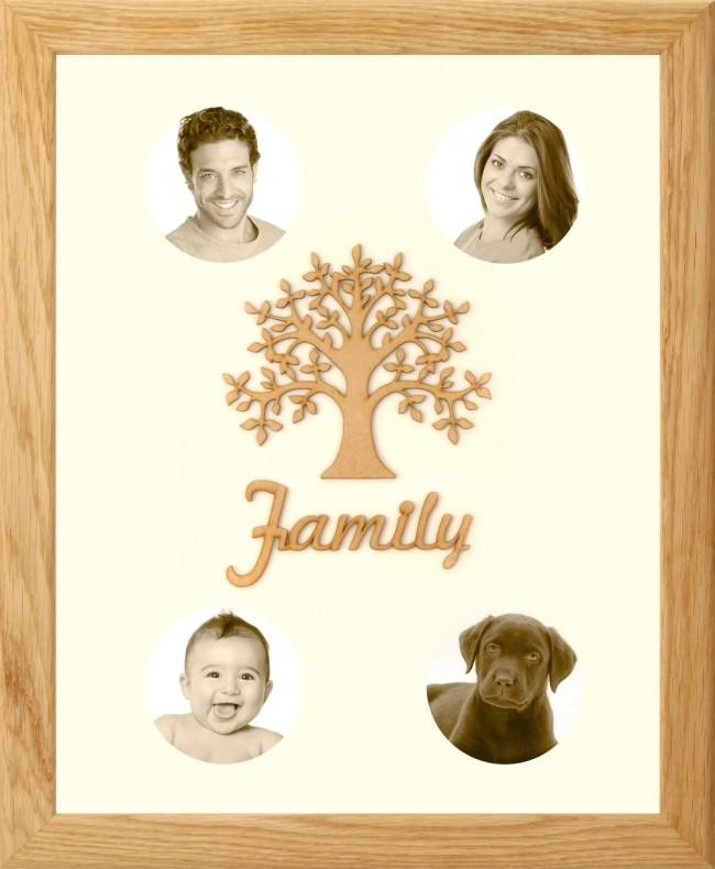 Large Family Photo Tree of Life 4 Picture Frame Solid Oak 50x40cm