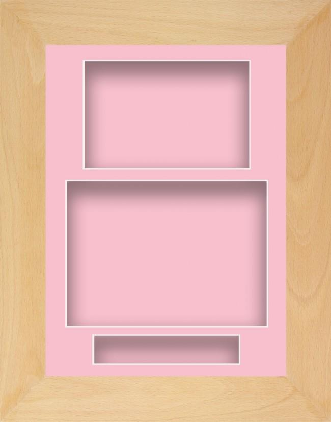 12x9 Beech Wooden Deep Box Display Frame Pink Portrait