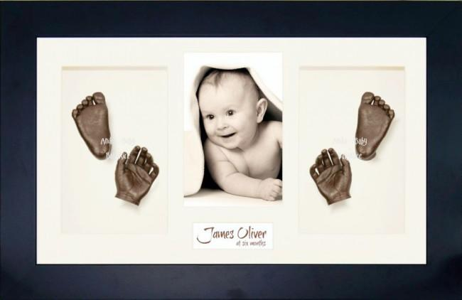Twin Babies, Older Baby Bronze 3D Baby Casting Kit, Black Frame