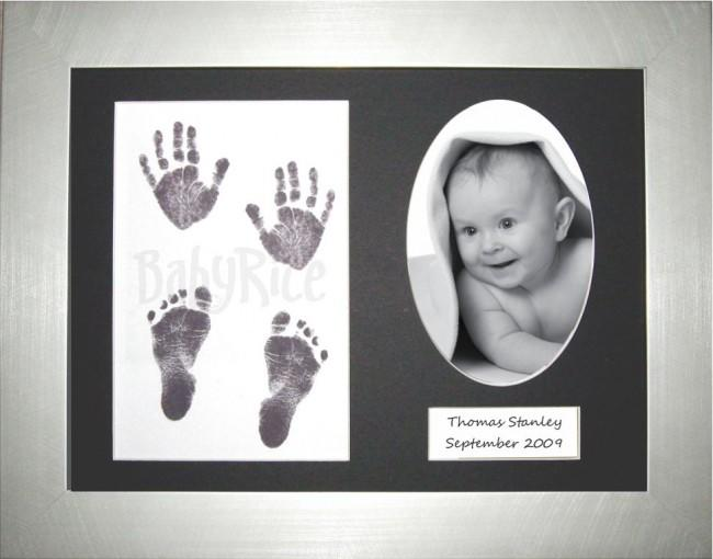 Baby Handprint Footprint Kit / Inkless wipe / Silver Frame