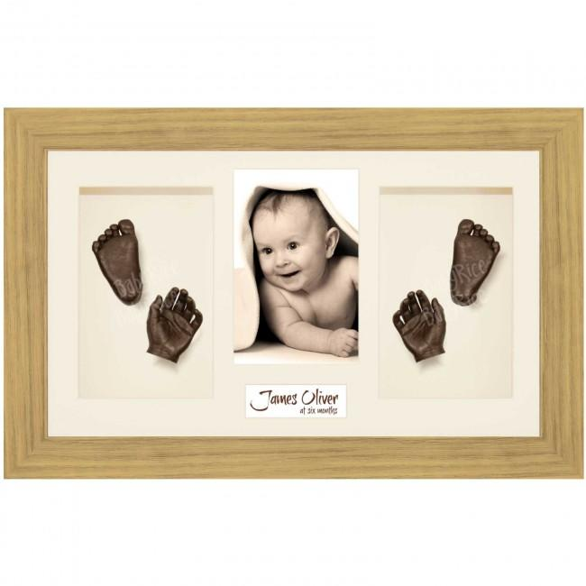 Baby Casting Kit, Large Oak Effect Frame, Cream Display, Bronze Paint