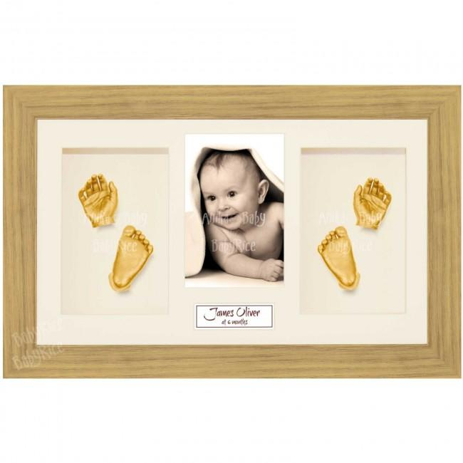 Baby Casting Kit, Large Oak Effect Frame, Cream Display, Gold Paint