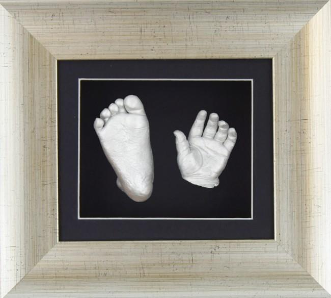 Silver Foot Baby Casting Kit Antique Silver Frame Black Display