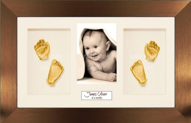 Large Baby Casting Kit / Bronze Photo Display Frame / Gold paint