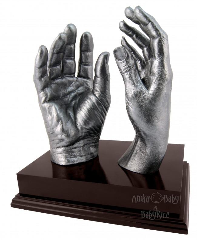 "Adult Hands Casting Kit with Mahogany Display Plinth 8x6"" – Pewter"