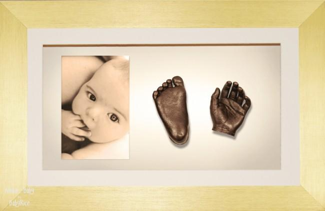 Large, Twins Baby Hand Foot Casting Kit / Brushed Gold Frame / Bronze