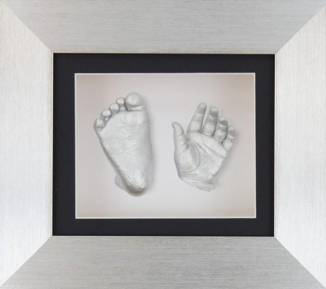 Baby Casting Kit Silver Frame Black White Display Silver Casts