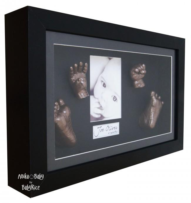 Large 3D Baby Casting Kit, Black Deep Box Display Frame, Gold Paint
