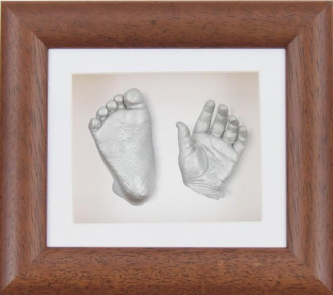 Baby Casting Kit Dark Wood Frame White Display Silver